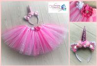 Pink Unicorn tutu tulle skirt head set girls dress up cake smash photos fancy dress